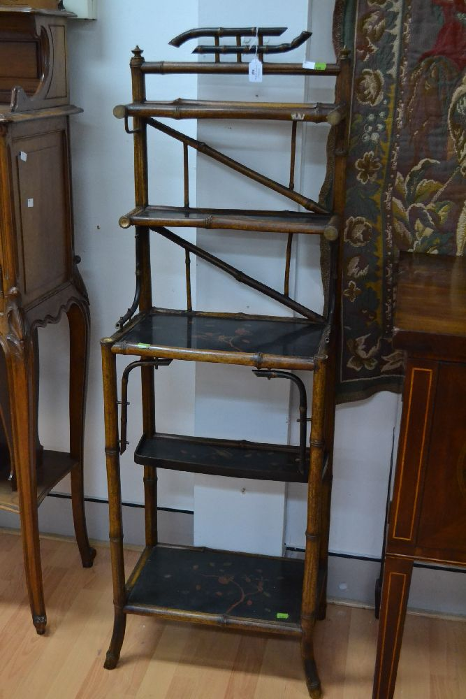 Antique Lacquer And Bamboo Multi Shelf Display What Not App