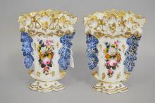 Pair of Antique French porcelain vases, each approx 27cm H (2)