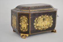 Fine antique Chinese black lacquer and gilt canted shape tea caddy, fitted with a pair of white metal lidded canisters, approx 16cm H x 24cm W x 17cm D