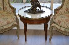 Vintage French circular marble topped table, pierced brass galley, approx 53cm H x 61cm Dia