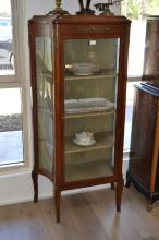 Antique French vitrine, of canted side shape, approx 149cm H x 74cm W x 36cm D