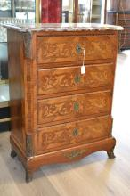 Fine French Louis XV style floral marquetry four drawer chest with marble top, approx 88cm H x 66cm W x 33cm D