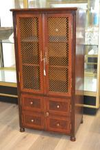 Vintage French inlaid bookcase, with gilt metal lattice doors, and cupboards below, approx 107cm H x 54cm W x 37cm D