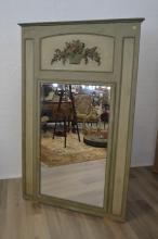Antique French painted surround pier mirror, with carved floral crest panel, approx 187cm H x 121cm H