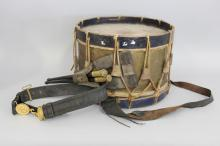 Antique French drum, with sticks, and belt, approx 42cm Dia