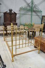 Antique French brass double bed, well appointed ends