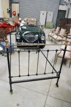 Antique French brass bed, with black iron centre frame