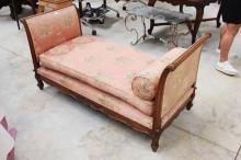 Antique French walnut double ended day bed / settee, approx 161cm W