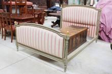 French Louis XVI style grey painted frame bed, approx 121cm H x 205cm L x 150cm W