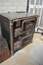Antique French wood burning stove, 80cmH x 46cm W x 56cm W