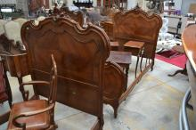 Pair of antique French carved walnut single beds (2)