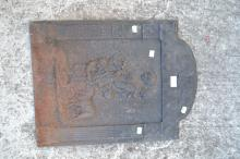 Antique French cast iron fireback, cast in relief with a Mother and Children with a lambapprox 57cm H x 43cm W