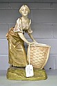 Antique Royal Dux figure of a young girl & basket,