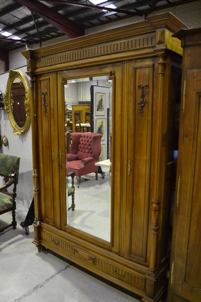 antique french walnut henri ii three door armoire approx 23. Black Bedroom Furniture Sets. Home Design Ideas