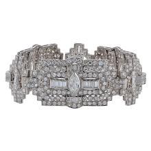 Distinctive Platinum 28ct Diamond Art Deco Bracelet