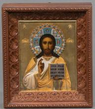 RUSSIAN ICON OF CHRIST PANTOCRATOR WITH GILDED SILVER OKLAD