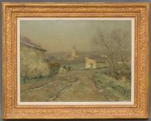 "JOSEPH PAUL MESLE (FRENCH, 1855-1929), ""GIVRE ET BROUILLARD"", C. 1923, OIL ON CANVAS, 21.5 X 27.75"""