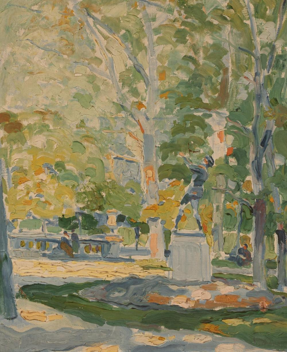 "Sold Price: Pierre De Belay (1890-1947), Park Scene, oil on canvas, 23.25 x  19.25"" - July 6, 0120 12:00 PM CDT"