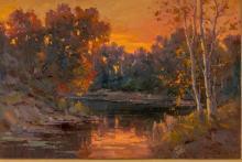 "Ovanes Berberian, landscape, oil on canvas, 24 x 36"""