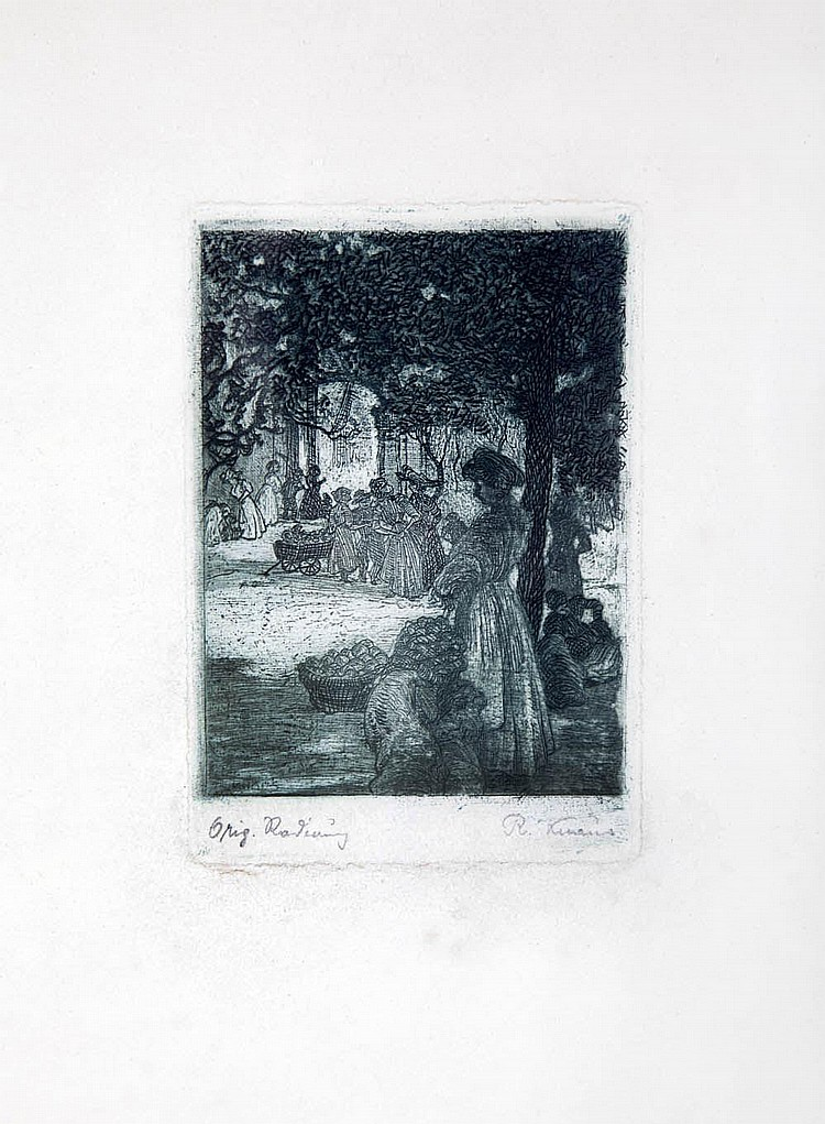 Richard Knaus; Marktszene, um 1900