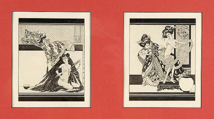 Franz von Bayros, Zwei erotische Szenen, um 1910
