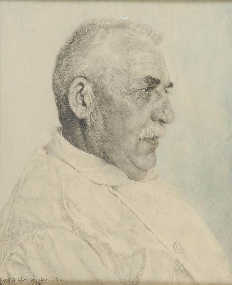 Karl Mediz, Porträt des Sanitätsarztes Dr. Alfred Schanz, 1928