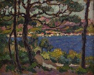 Louis Gustave Cambier Blick auf Le Trayas, um 1912 Sudfranzosische Kustenlandschaft an einer Bucht, im Vordergrund unter Pinien eine im Schatten