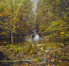 Joel Babb (1947-) – Falls and Pool in the Forest