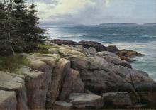 Donald Demers (1956-) - The Rocks at Pemaquid, Maine