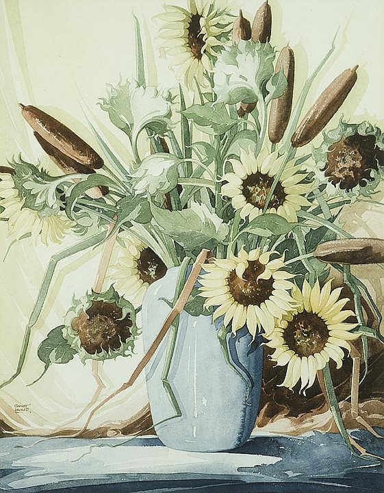 William Garnet Hazard 1903-1987 CPE Sunflowers  &  Cattails Watercolour on paper, signed 25 x 19.25 IN, 63.5 x 49 CM