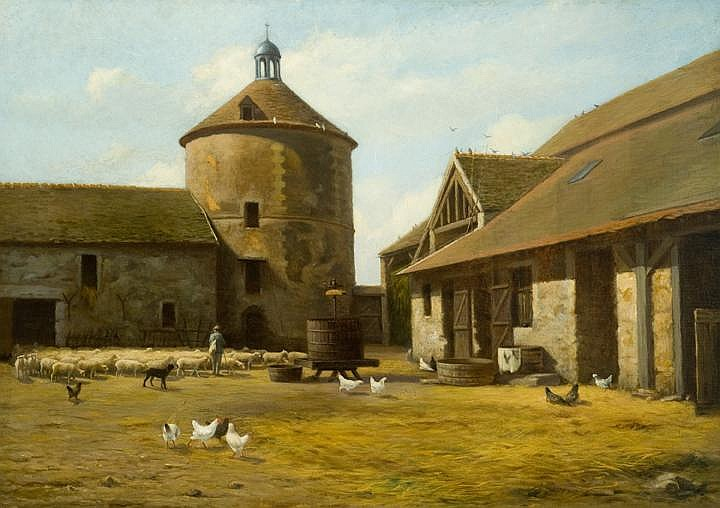Emile Desire Lienard Born 1842 French Shepherd, Flock  &  Poultry in a Farmyard Oil on canvas, signed on the stretcher 26 x 36 IN, 6...