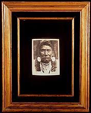 Scrimshawed Mastadon Ivory Image of Chief Joseph