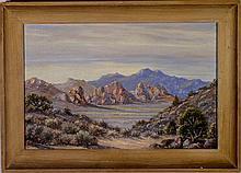 Desert Landscape - Oil on Board, circa 1950's