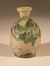 19th Century Green & White Glazed Bottle