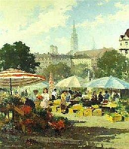Follak, Alexander, geb. in Moscow 1915, actively in Munich. Resident of Munich  Viktualienmarkt, sign., Oel/Lw., 80 x 70 cm E1.900,00?