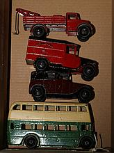 4 Dinky Toys. A Royal Mail van (34b). Taxi with dr