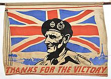 A colour stencilled WWII banner of F Marshal Montg