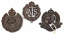 3 WWII plastic cap badges: RE, Military Police and