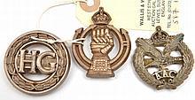 3 WWII plastic cap badges: RAC, AAC (a little bent