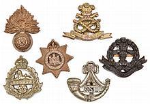 6 WWII infantry plastic cap badges:  R Fus, Devon,