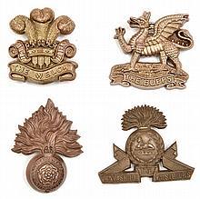 4 WWII infantry plastic cap badges: Buffs, R Fus,