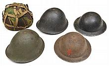 A WWII British black painted steel helmet,  with l