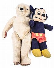A 1930's wood wool filled Teddy Bear. A Chad Valley/Farnell style bear 73cm