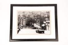 2x framed motor racing monochrome photographs hand developed from 35mm nega
