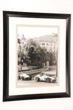 3x framed motor racing monochrome photographs hand developed from 35mm nega