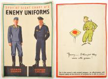 "2 WWII A1 posters: ""Spot at Sight Chart No 2 - Enemy Uniforms"" showing Germ"