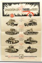 "A WWII A4 poster ""Smash'em Up- But- Theirs not Ours"" showing 4 types of Bri"