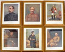 """A set of 24 illustrations from """"Celebrities of the Army"""", framed and glazed"""
