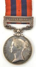 I.G.S. 1854, bearing 1 clasp Hazara 1891 (3625 M. Connolly HMs 80th Regt),