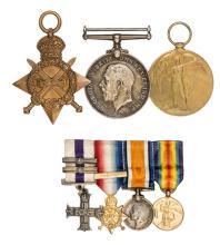 Three:  1914-15 star, (Lieut. M.A. Power R.A.M.C), BWM, Victory (Major M.A.